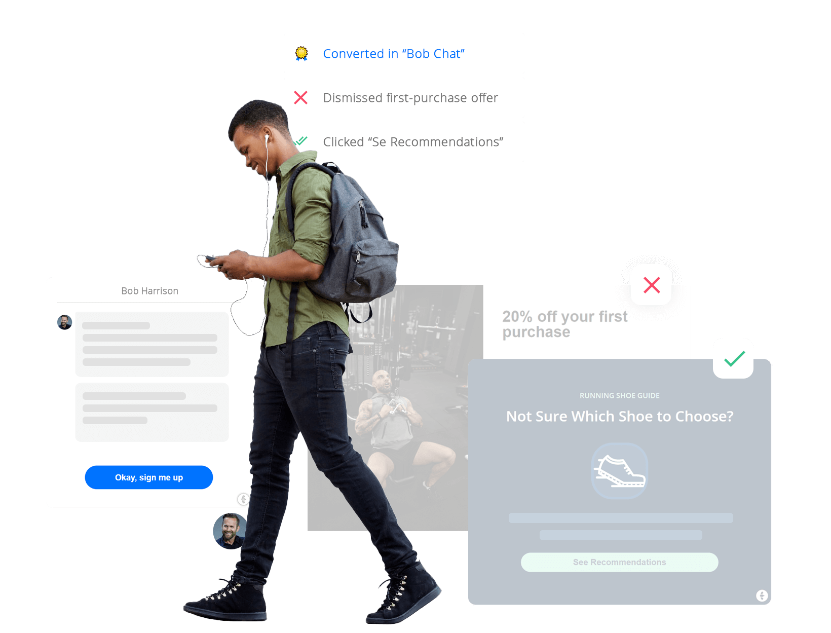 Person with forms and popups around
