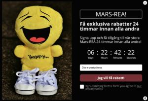 Triggerbee countdown exempel - tillgång till rea innan alla andra