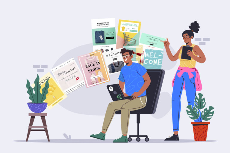 People using email and computer
