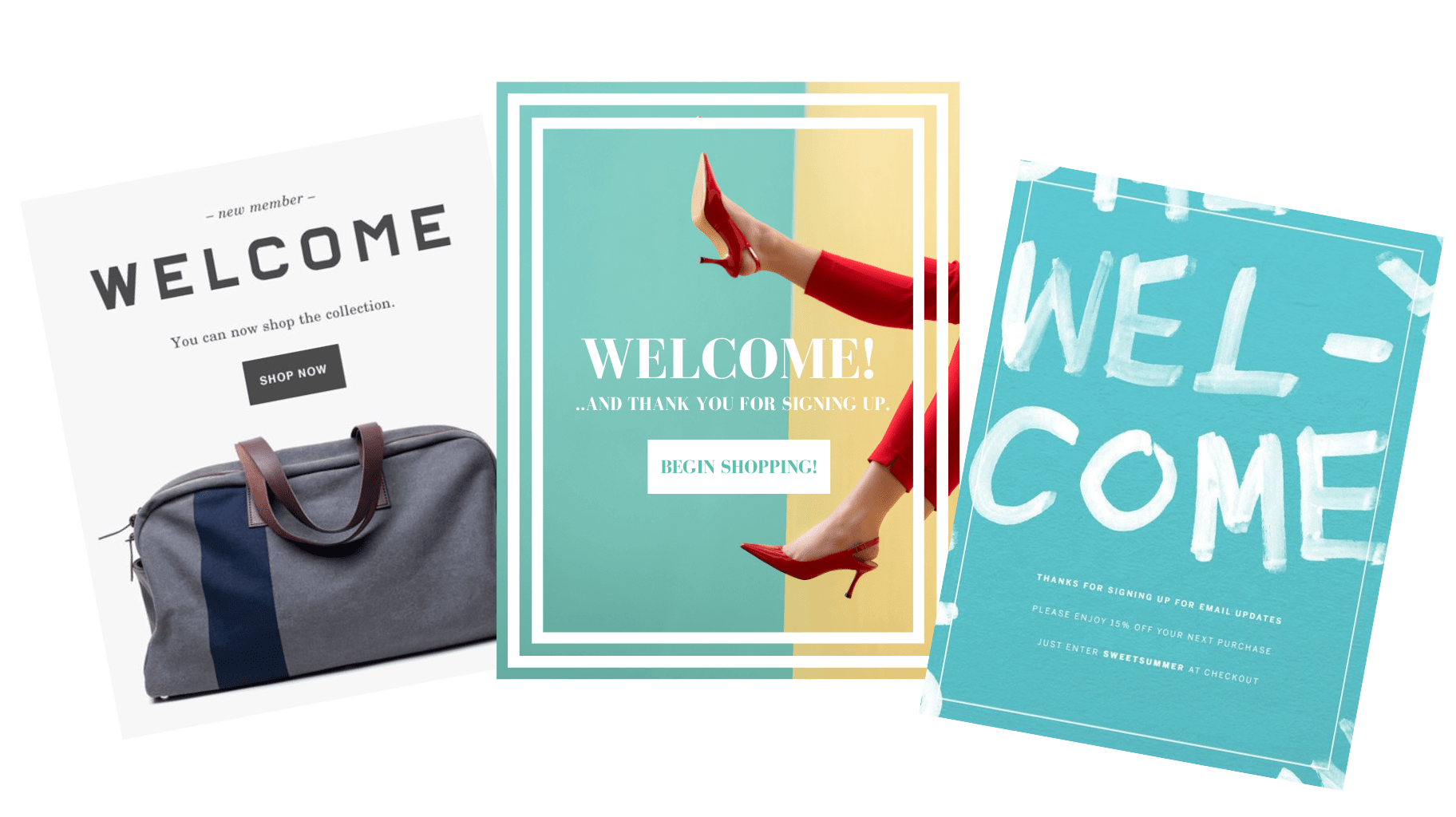 Three emails that welcome new subscribers